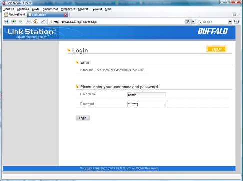 LinkStation login