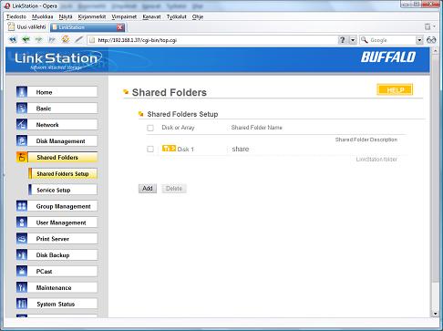 LinkStation Shared Folders