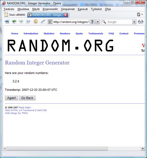 random.org kilpailun voittaja rivi