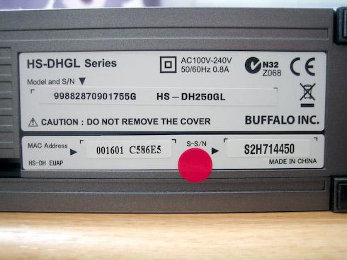 Buffalo LinkStation Live 250Gt tarra pohjassa