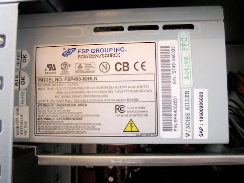 Fujitsu-Siemens Scaleo Pi2666 Forton virtalähde