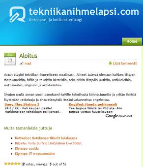 tekniikanihmelapsi.com Aloitus